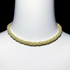Vintage Iridescent Pearl Oval Bead Choker Necklace